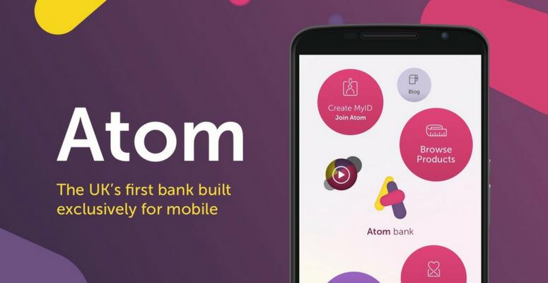 The Atom Bank logo, strapline and screenshot of mobile app
