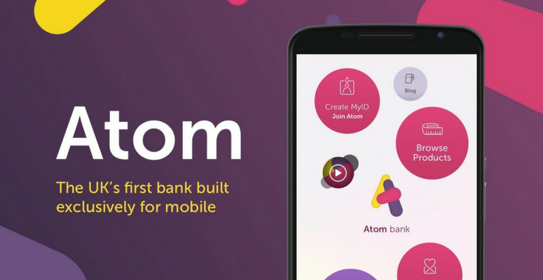 The Atom Bank logo, strapline and screenshot of mobile app