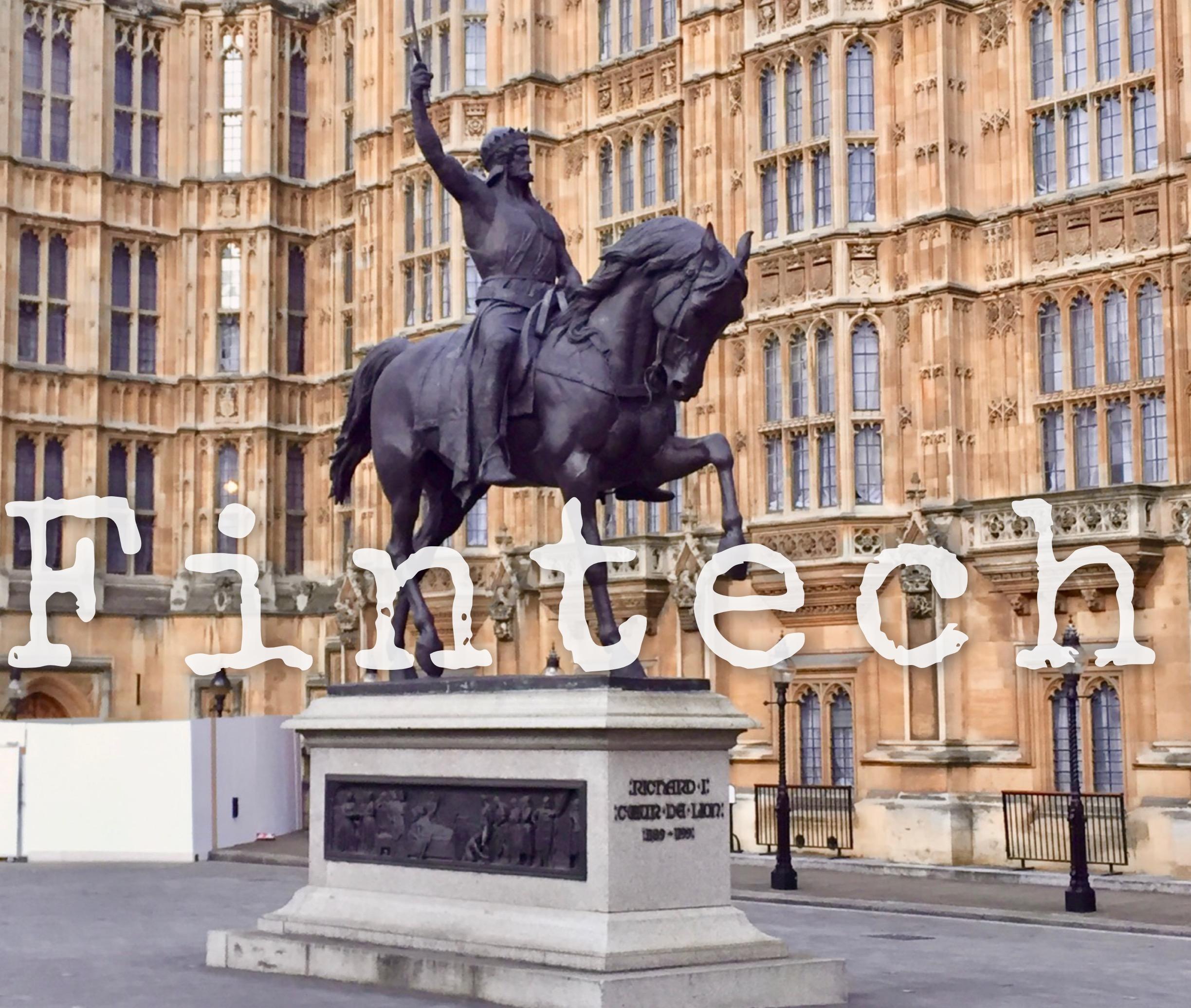 Richard Coeur de Lion statue overlaid with the words 'fintech'