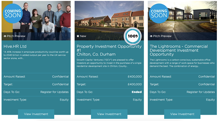 A screenshot of the GrowthFunders investment opportunities carousel