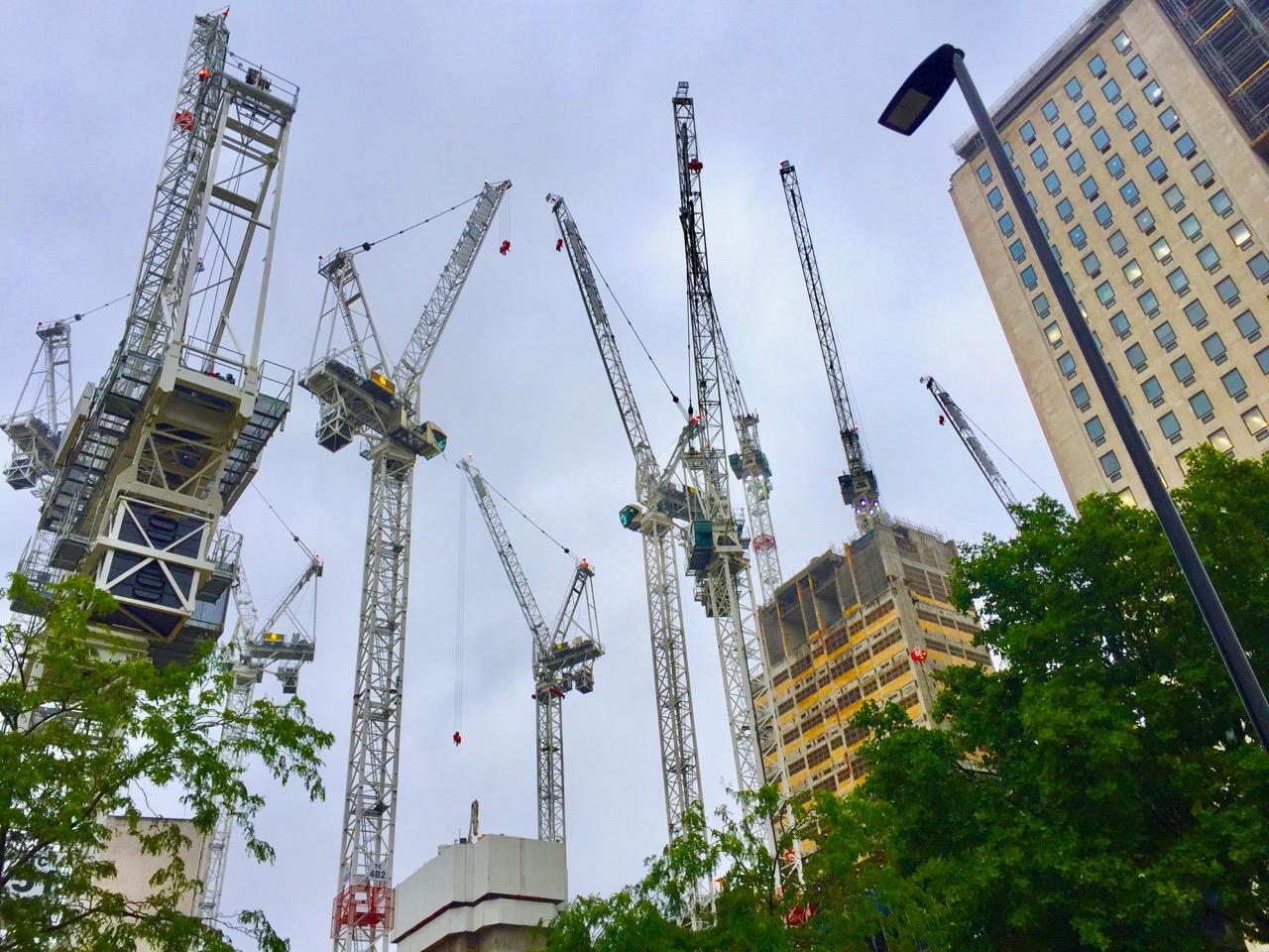 Cranes constructing properties in London