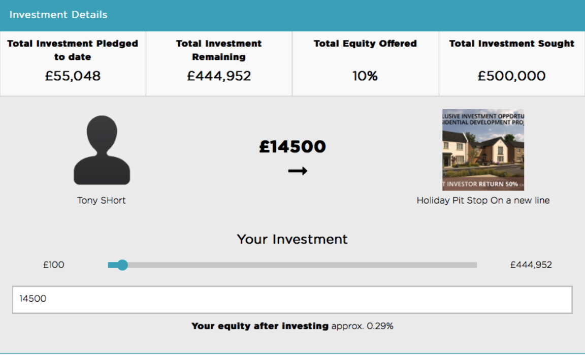 A screenshot of the first stage of the investment process on GrowthFunders.com