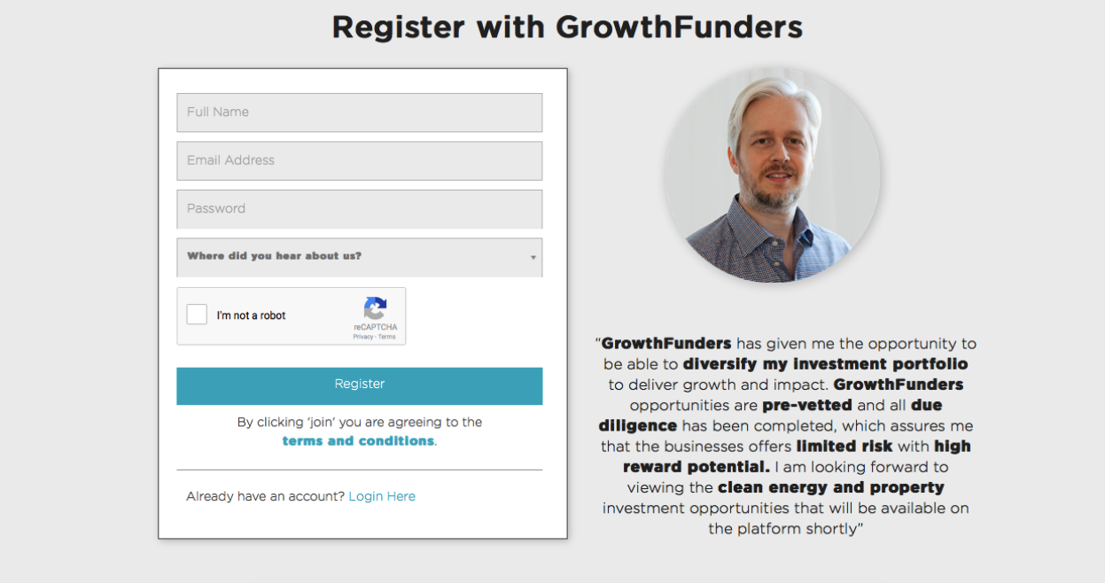 A screenshot of the 'Register' screen on GrowthFunders.com