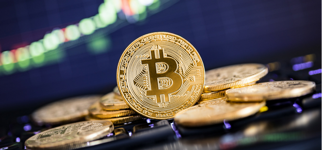 Bitcoin cryptocurrency coin and graph